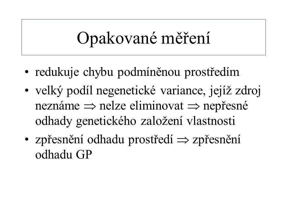 Opakované měření redukuje chybu podmíněnou prostředím velký podíl negenetické variance, jejíž zdroj neznáme  nelze eliminovat  nepřesné odhady genetického založení vlastnosti zpřesnění odhadu prostředí  zpřesnění odhadu GP