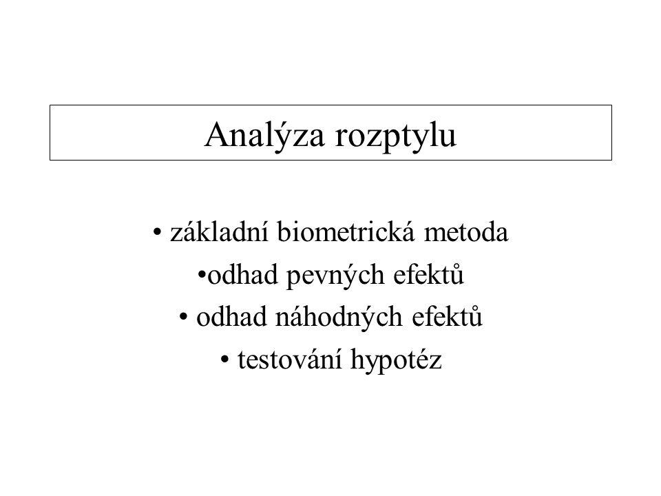 Analýza rozptylu základní biometrická metoda odhad pevných efektů odhad náhodných efektů testování hypotéz