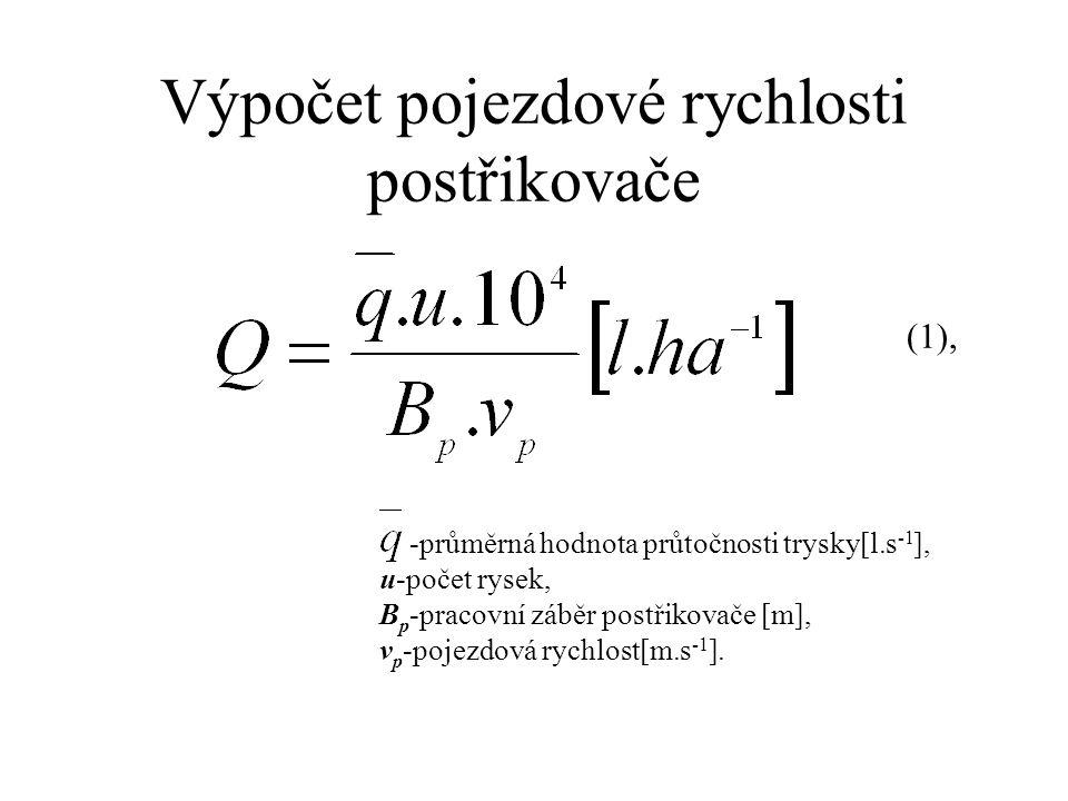 Výpočet pojezdové rychlosti postřikovače -průměrná hodnota průtočnosti trysky[l.s -1 ], u-počet rysek, B p -pracovní záběr postřikovače [m], v p -pojezdová rychlost[m.s -1 ].