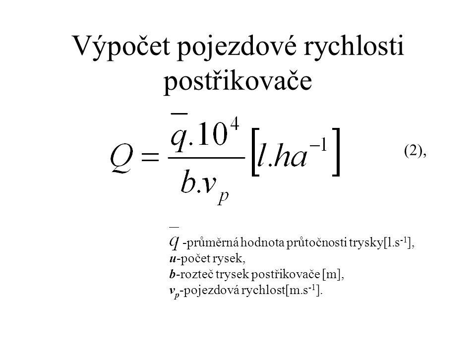 Výpočet pojezdové rychlosti postřikovače -průměrná hodnota průtočnosti trysky[l.s -1 ], u-počet rysek, b-rozteč trysek postřikovače [m], v p -pojezdová rychlost[m.s -1 ].