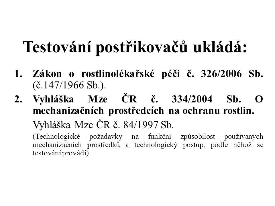 Testování postřikovačů ukládá: 1.Zákon o rostlinolékařské péči č.