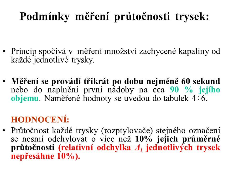 Podmínky měření průtočnosti trysek: Princip spočívá v měření množství zachycené kapaliny od každé jednotlivé trysky.