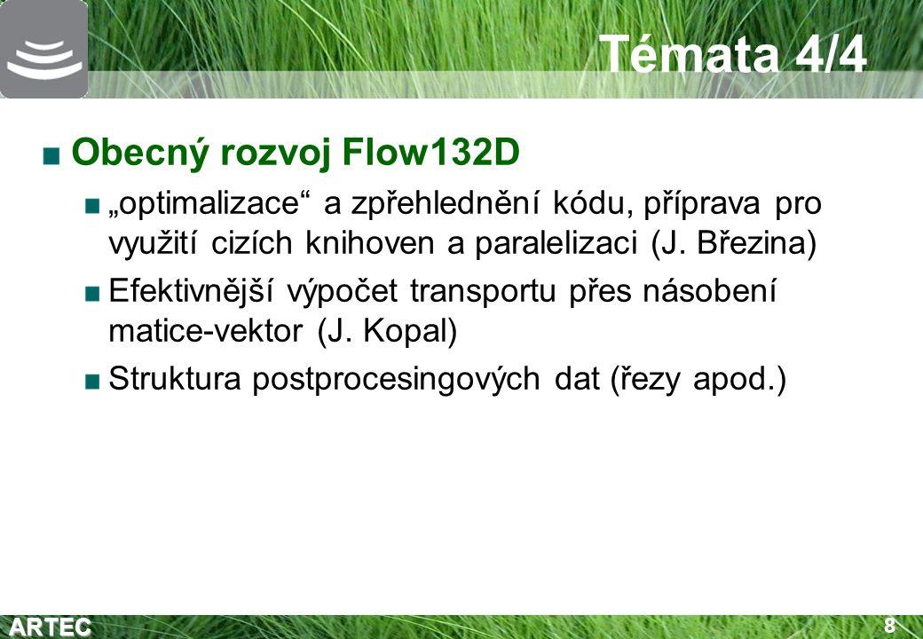 """ARTEC 8 Témata 4/4 Obecný rozvoj Flow132D """"optimalizace a zpřehlednění kódu, příprava pro využití cizích knihoven a paralelizaci (J."""