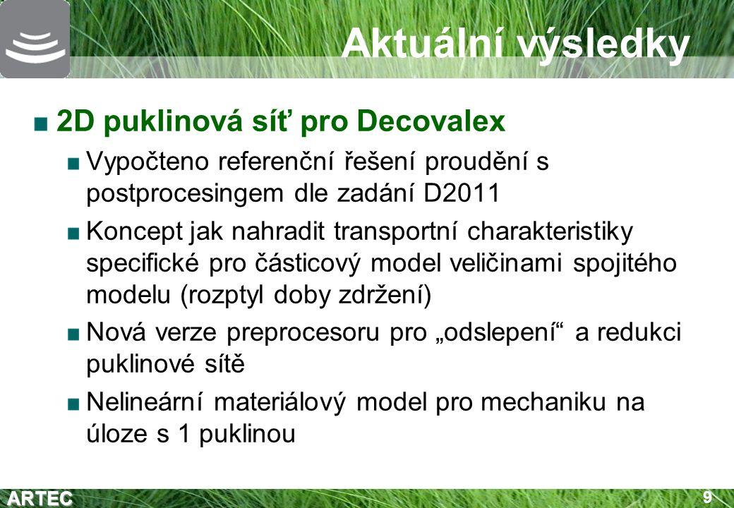 """ARTEC 9 Aktuální výsledky 2D puklinová síť pro Decovalex Vypočteno referenční řešení proudění s postprocesingem dle zadání D2011 Koncept jak nahradit transportní charakteristiky specifické pro částicový model veličinami spojitého modelu (rozptyl doby zdržení) Nová verze preprocesoru pro """"odslepení a redukci puklinové sítě Nelineární materiálový model pro mechaniku na úloze s 1 puklinou"""