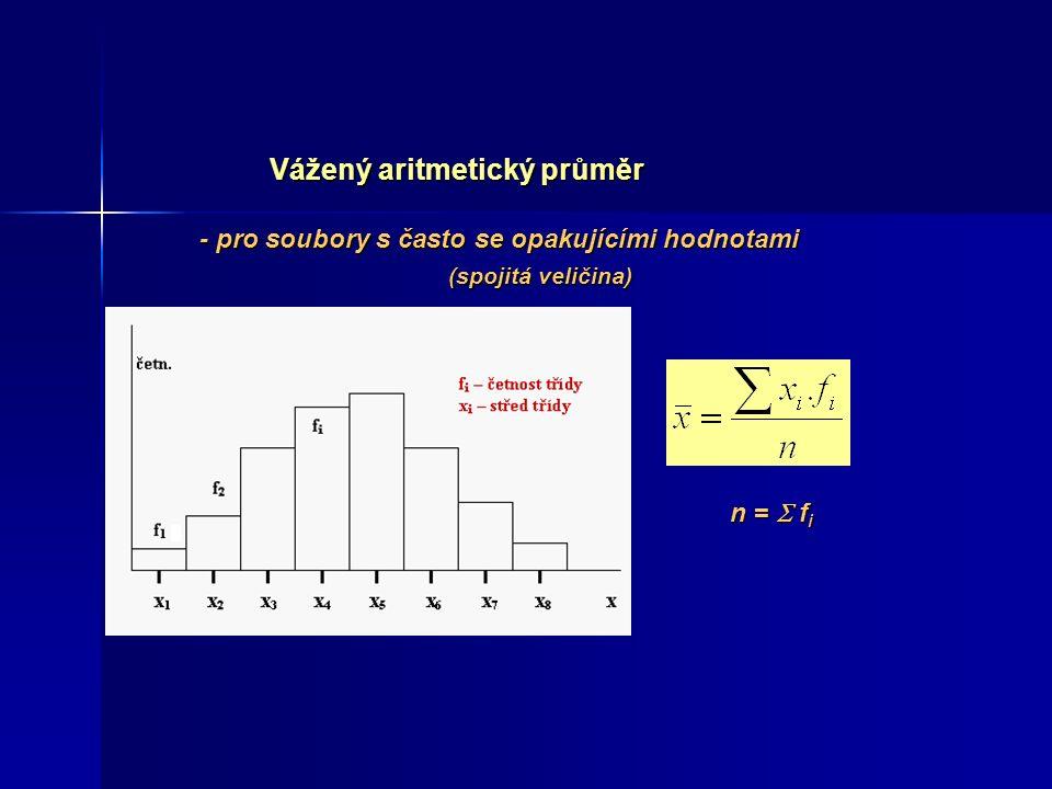 Vážený aritmetický průměr - pro soubory s často se opakujícími hodnotami (spojitá veličina) (spojitá veličina) n =  f i