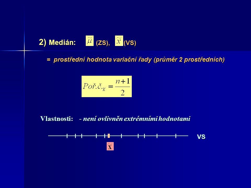 2) Medián: (ZS), (VS) 2) Medián: (ZS), (VS) Vlastnosti:- není ovlivněn extrémními hodnotami = prostřední hodnota variační řady (průměr 2 prostředních)