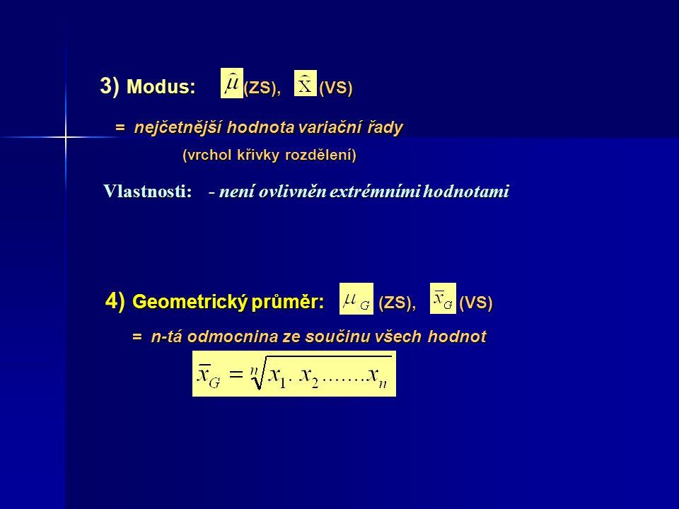 Modus: (ZS), (VS) 3) Modus: (ZS), (VS) Geometrický průměr: (ZS), (VS) 4) Geometrický průměr: (ZS), (VS) Vlastnosti:- není ovlivněn extrémními hodnotam