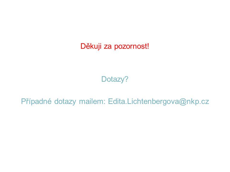 Děkuji za pozornost! Dotazy Případné dotazy mailem: Edita.Lichtenbergova@nkp.cz