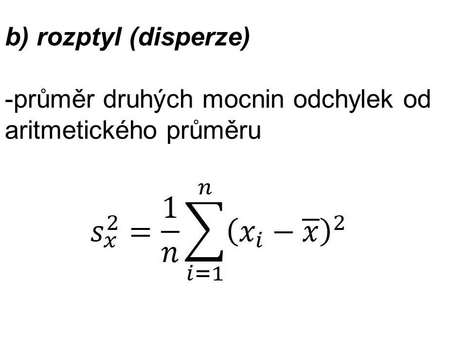 b) rozptyl (disperze) -průměr druhých mocnin odchylek od aritmetického průměru