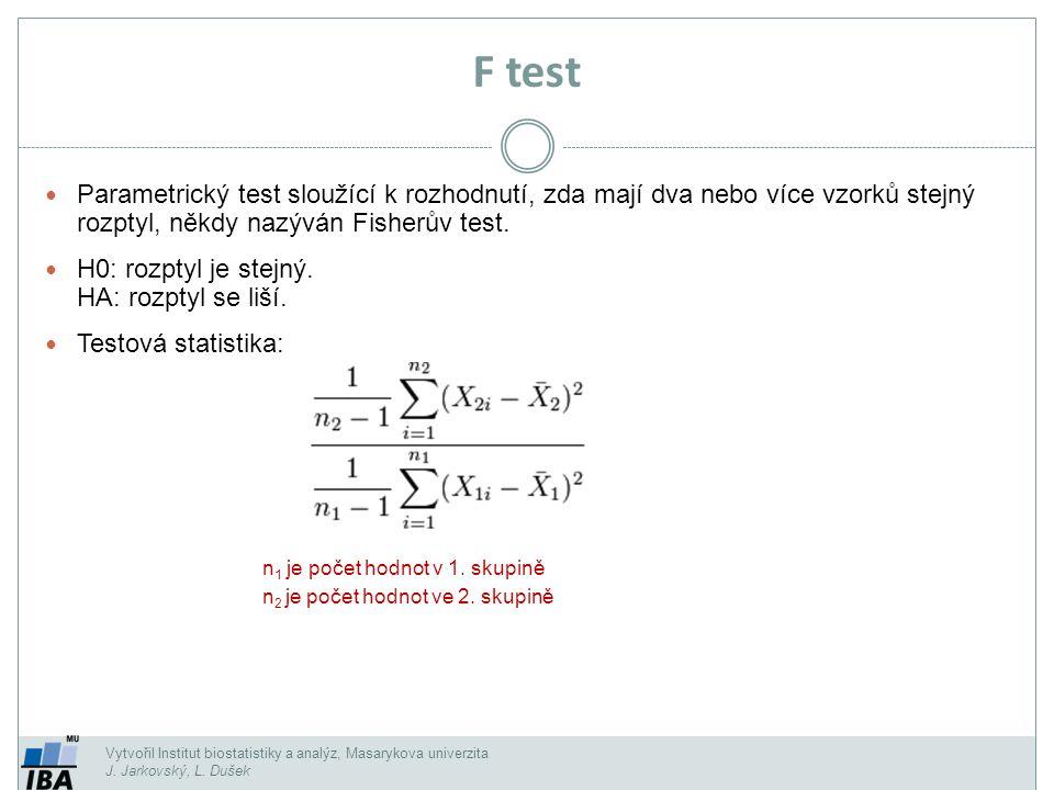 Vytvořil Institut biostatistiky a analýz, Masarykova univerzita J. Jarkovský, L. Dušek F test Parametrický test sloužící k rozhodnutí, zda mají dva ne