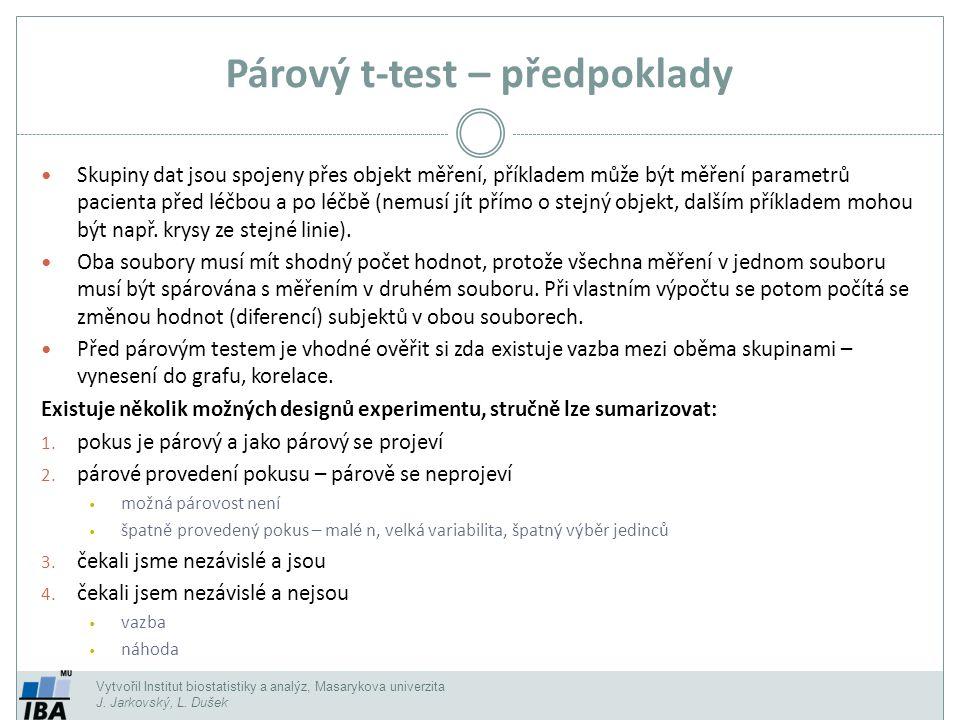 Vytvořil Institut biostatistiky a analýz, Masarykova univerzita J. Jarkovský, L. Dušek Párový t-test – předpoklady Skupiny dat jsou spojeny přes objek