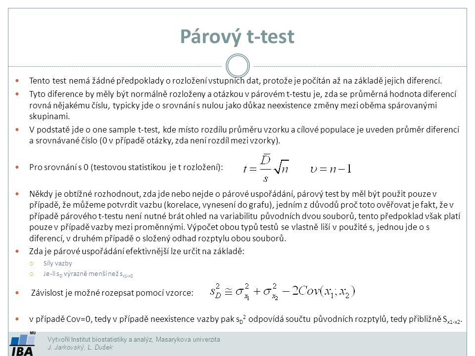 Vytvořil Institut biostatistiky a analýz, Masarykova univerzita J. Jarkovský, L. Dušek Párový t-test Tento test nemá žádné předpoklady o rozložení vst