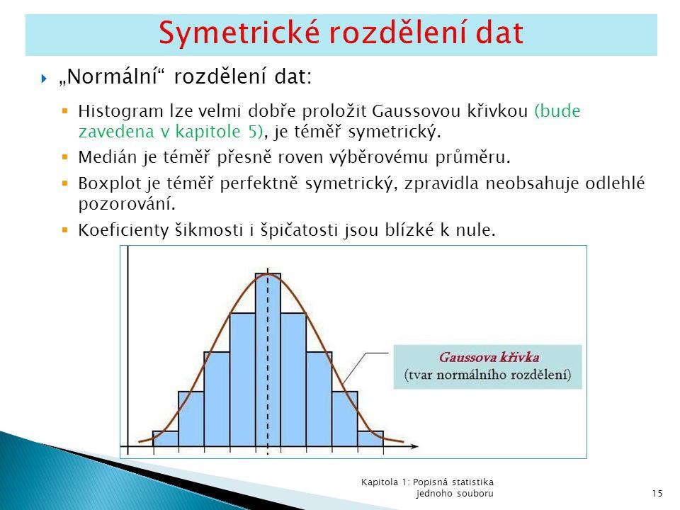 """ """"Normální rozdělení dat:  Histogram lze velmi dobře proložit Gaussovou křivkou (bude zavedena v kapitole 5), je téměř symetrický."""