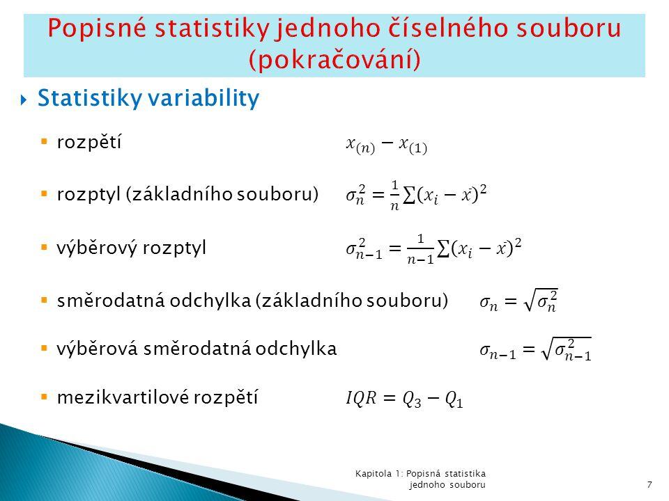  Příklady kladného zešikmení:  Viz Příklad 1.2 (obsahy nežádoucí příměsi u 16 vzorků stavebního materiálu) Poznámka: Koeficient šikmosti je pro tato data roven 2.879.