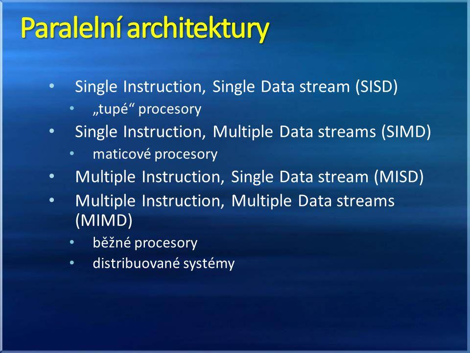 Systémy se sdílenou pamětí Symetrické – symmetric multiprocessors (SMP) úzkým hrdlem je paměťová sběrnice běžné počítače Nesymetrické – non-uniform memory access (NUMA) paměť je sdílená, ale rozdělená na segmenty – některé jsou blíž a jiné dál princip programování stejný nutné vyhnout se vzdáleným přesunům dat optimálně využívat cache běžné superpočítače