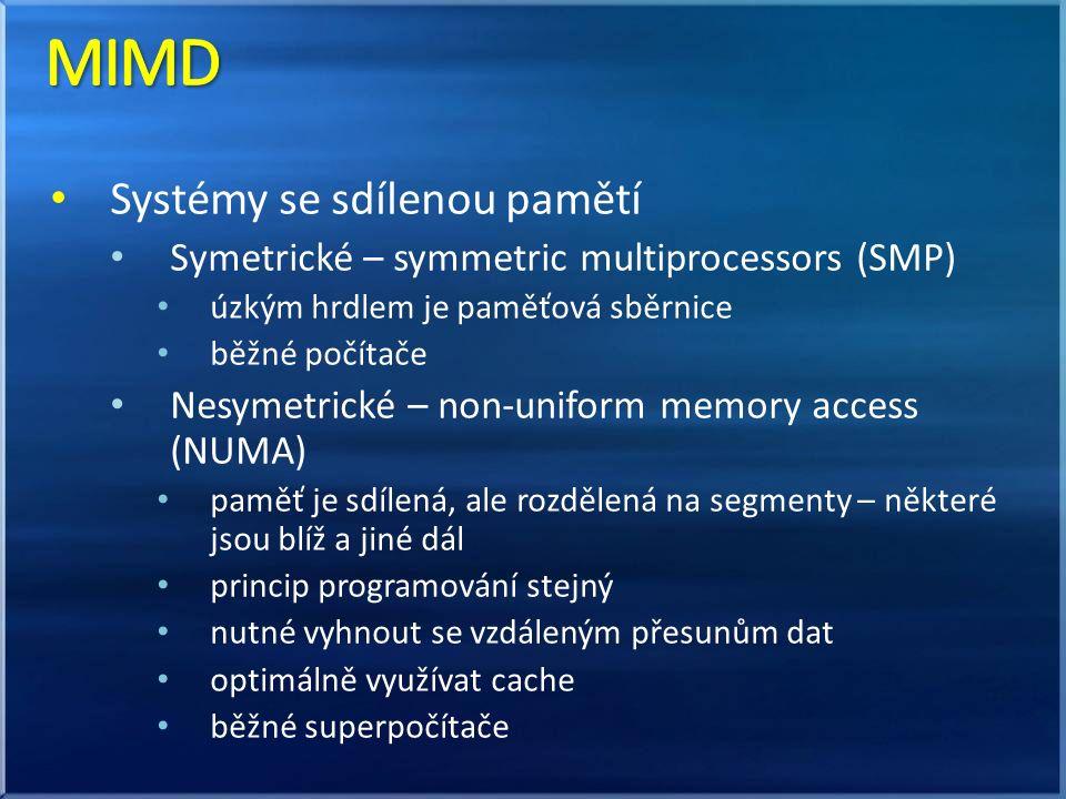Systémy s distribuovanou pamětí MPP – Massively parallel processors superpočítače Gridy heterogenní clustery nemají centrální bod správy hybridní systémy clustery výpočetních jednotek se sdílenou pamětí superpočítače Clustery homogenní (nebo homogenizované) samostatné výpočetní jednotky