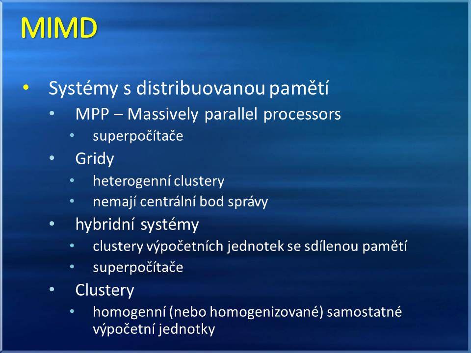 paralelizace algoritmická paralelizace programová zasílaní zpráv management a synchronizace procesů/vláken distribuce dat paralelizace na úrovni kompilátoru direktivy označující paralelní kód