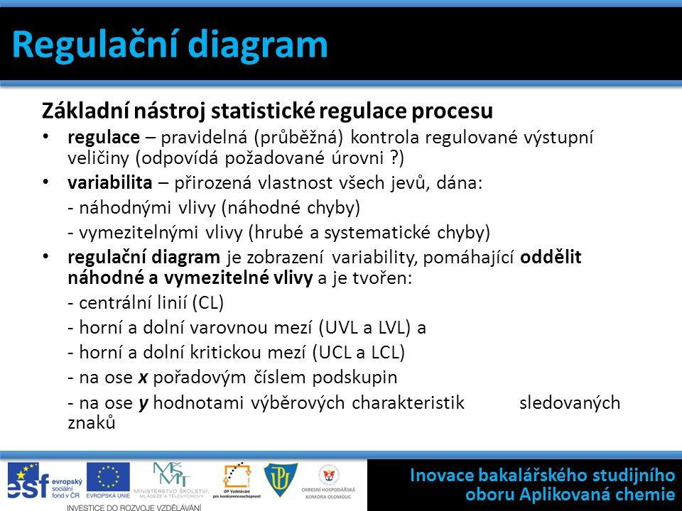Regulační diagram Základní nástroj statistické regulace procesu regulace – pravidelná (průběžná) kontrola regulované výstupní veličiny (odpovídá požadované úrovni ) variabilita – přirozená vlastnost všech jevů, dána: - náhodnými vlivy (náhodné chyby) - vymezitelnými vlivy (hrubé a systematické chyby) regulační diagram je zobrazení variability, pomáhající oddělit náhodné a vymezitelné vlivy a je tvořen: - centrální linií (CL) - horní a dolní varovnou mezí (UVL a LVL) a - horní a dolní kritickou mezí (UCL a LCL) - na ose x pořadovým číslem podskupin - na ose y hodnotami výběrových charakteristik sledovaných znaků Filosofie státní kontroly výroby léčivých přípravků Inovace bakalářského studijního oboru Aplikovaná chemie Regulační diagram