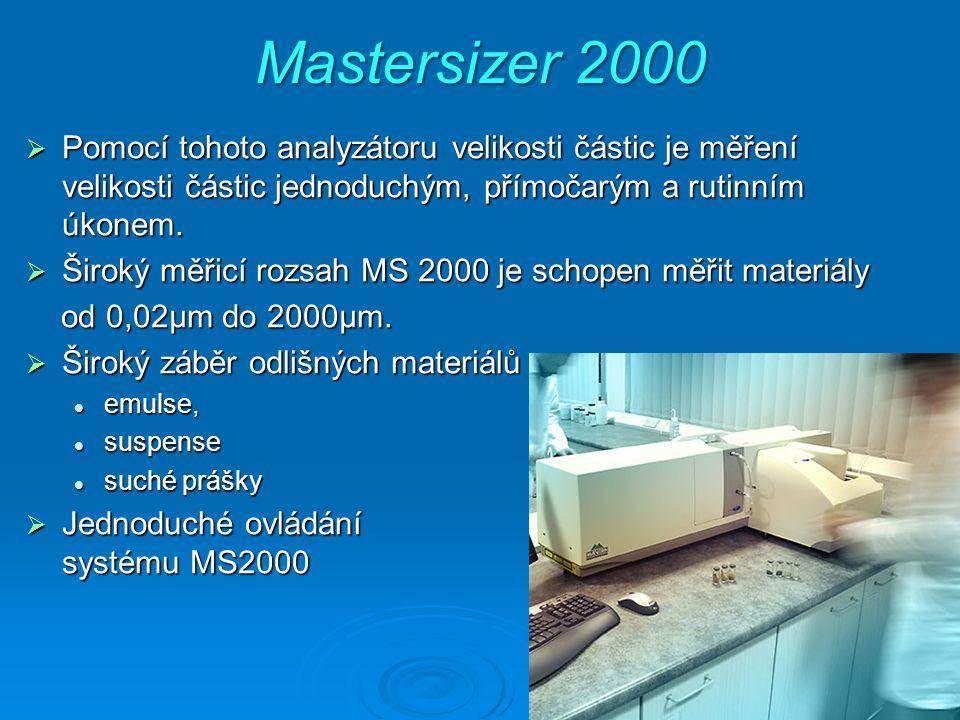 Mastersizer 2000  Pomocí tohoto analyzátoru velikosti částic je měření velikosti částic jednoduchým, přímočarým a rutinním úkonem.