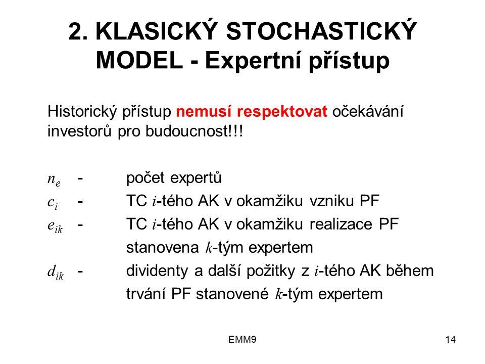 EMM914 2. KLASICKÝ STOCHASTICKÝ MODEL - Expertní přístup Historický přístup nemusí respektovat očekávání investorů pro budoucnost!!! n e -počet expert