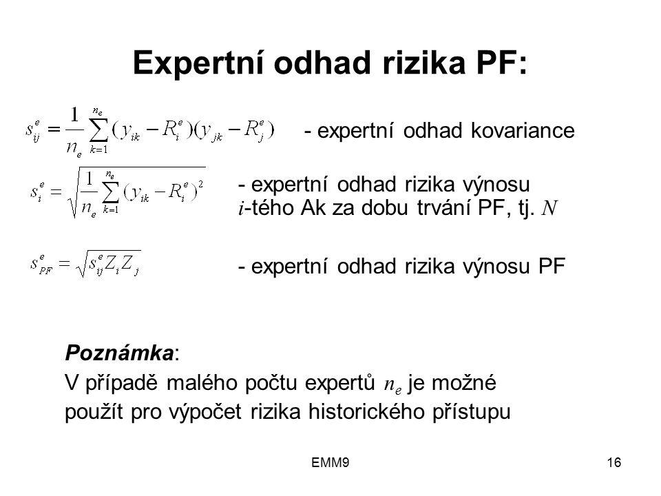 EMM916 Expertní odhad rizika PF: - expertní odhad kovariance - expertní odhad rizika výnosu i -tého Ak za dobu trvání PF, tj. N - expertní odhad rizik