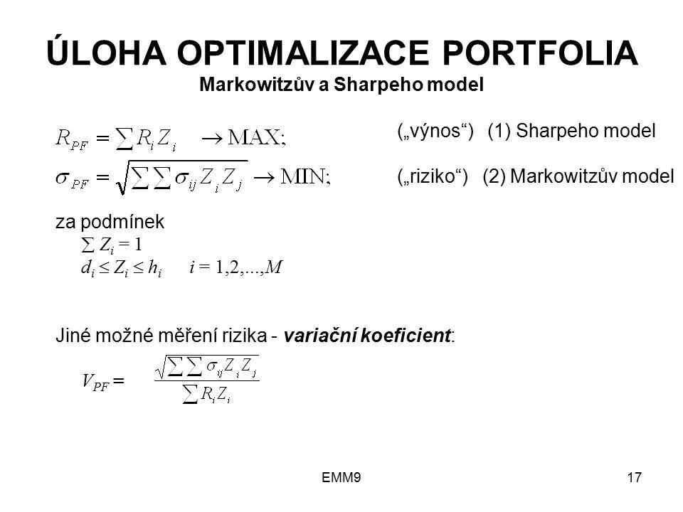 """EMM917 ÚLOHA OPTIMALIZACE PORTFOLIA Markowitzův a Sharpeho model (""""výnos"""") (1) Sharpeho model (""""riziko"""") (2) Markowitzův model za podmínek  Z i = 1 d"""