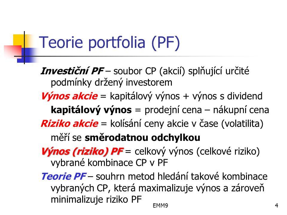 EMM94 Teorie portfolia (PF) Investiční PF – soubor CP (akcií) splňující určité podmínky držený investorem Výnos akcie = kapitálový výnos + výnos s div