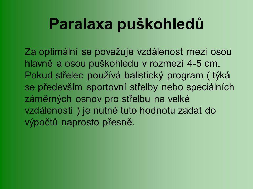 Paralaxa puškohledů Za optimální se považuje vzdálenost mezi osou hlavně a osou puškohledu v rozmezí 4-5 cm.