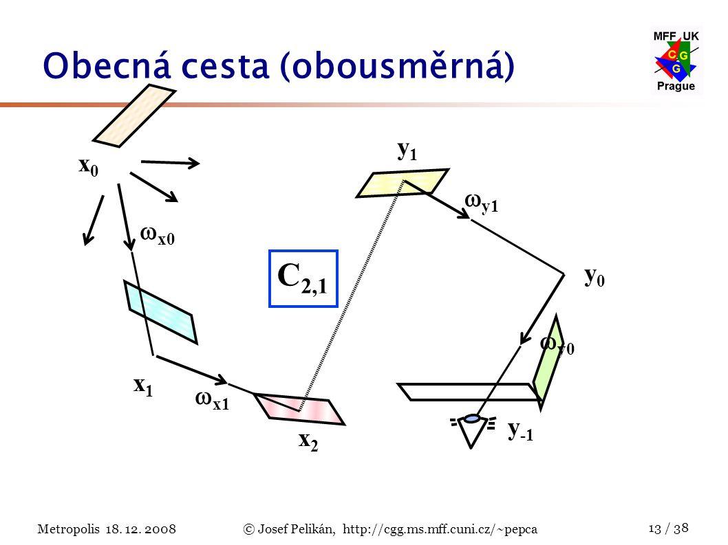 Metropolis 18. 12. 2008© Josef Pelikán, http://cgg.ms.mff.cuni.cz/~pepca 13 / 38 Obecná cesta (obousměrná) y0y0 x2x2  y1 x1x1  x1 x0x0  x0  y0 y1y
