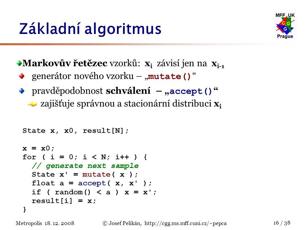 Metropolis 18. 12. 2008© Josef Pelikán, http://cgg.ms.mff.cuni.cz/~pepca 16 / 38 Základní algoritmus State x, x0, result[N]; x = x0; for ( i = 0; i <