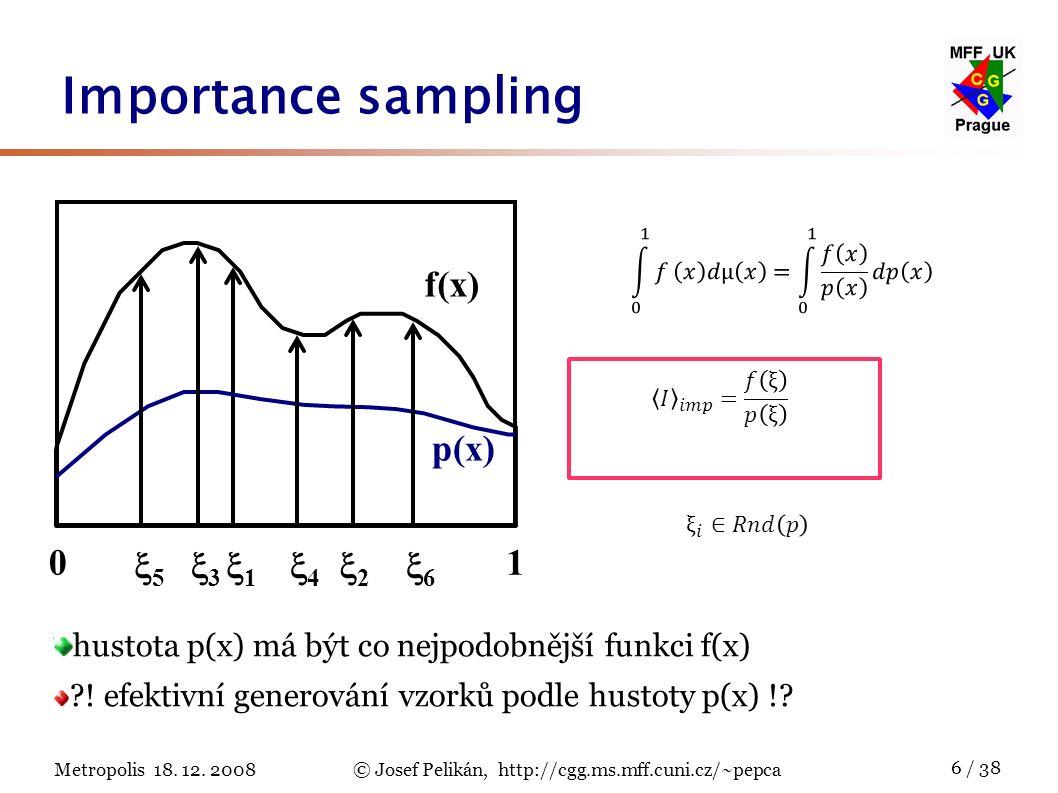 Metropolis 18. 12. 2008© Josef Pelikán, http://cgg.ms.mff.cuni.cz/~pepca 6 / 38 Importance sampling hustota p(x) má být co nejpodobnější funkci f(x) ?