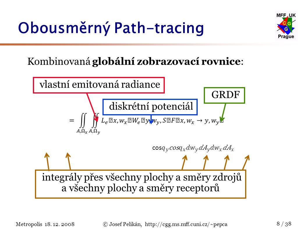 Metropolis 18. 12. 2008© Josef Pelikán, http://cgg.ms.mff.cuni.cz/~pepca 8 / 38 Obousměrný Path-tracing Kombinovaná globální zobrazovací rovnice: disk
