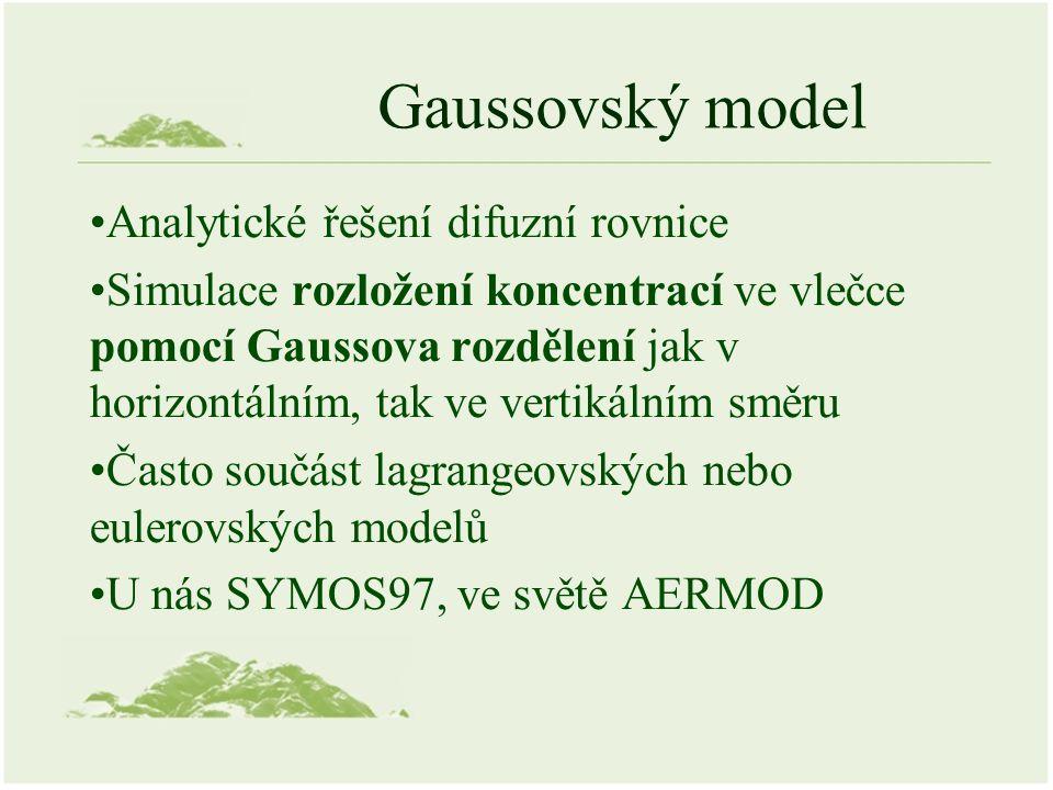 Gaussovský model Analytické řešení difuzní rovnice Simulace rozložení koncentrací ve vlečce pomocí Gaussova rozdělení jak v horizontálním, tak ve vertikálním směru Často součást lagrangeovských nebo eulerovských modelů U nás SYMOS97, ve světě AERMOD