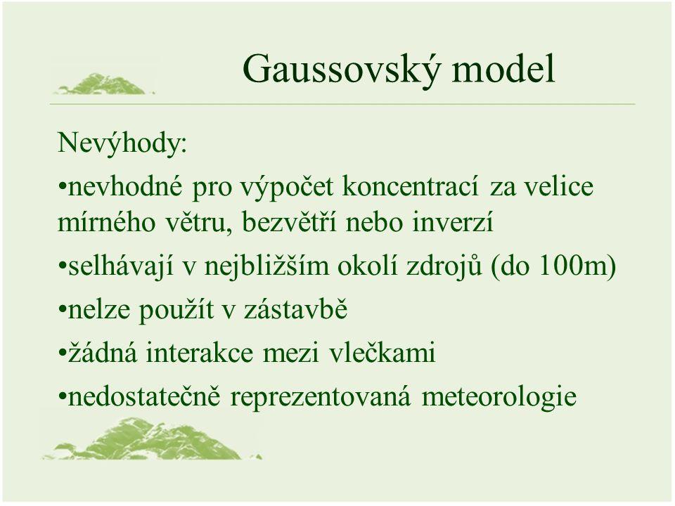 Gaussovský model Nevýhody: nevhodné pro výpočet koncentrací za velice mírného větru, bezvětří nebo inverzí selhávají v nejbližším okolí zdrojů (do 100m) nelze použít v zástavbě žádná interakce mezi vlečkami nedostatečně reprezentovaná meteorologie