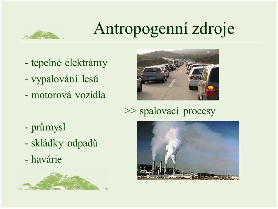 Antropogenní zdroje - tepelné elektrárny - vypalování lesů - motorová vozidla >> spalovací procesy - průmysl - skládky odpadů - havárie