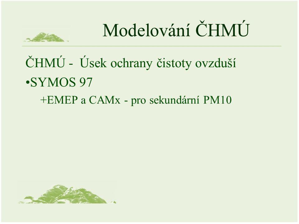 Modelování ČHMÚ ČHMÚ - Úsek ochrany čistoty ovzduší SYMOS 97 +EMEP a CAMx - pro sekundární PM10