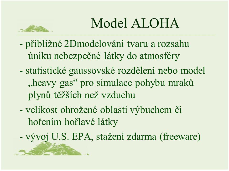"""Model ALOHA - přibližné 2Dmodelování tvaru a rozsahu úniku nebezpečné látky do atmosféry - statistické gaussovské rozdělení nebo model """"heavy gas pro simulace pohybu mraků plynů těžších než vzduchu - velikost ohrožené oblasti výbuchem či hořením hořlavé látky - vývoj U.S."""