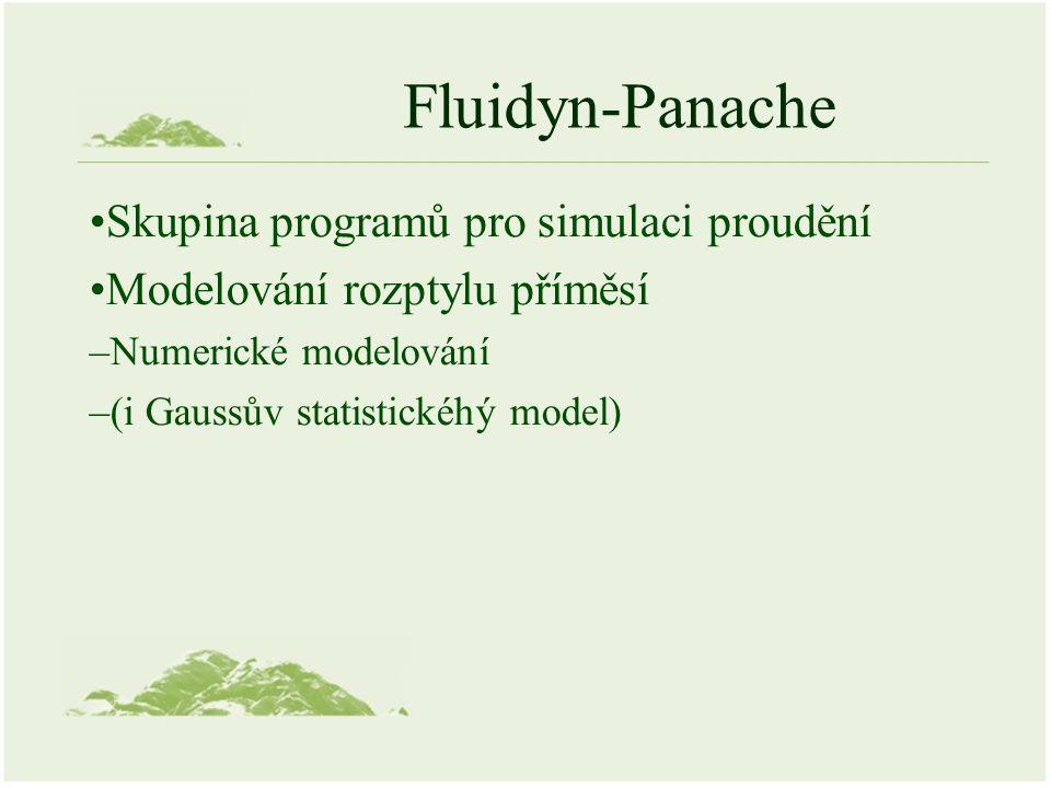 Fluidyn-Panache Skupina programů pro simulaci proudění Modelování rozptylu příměsí –Numerické modelování –(i Gaussův statistickéhý model)