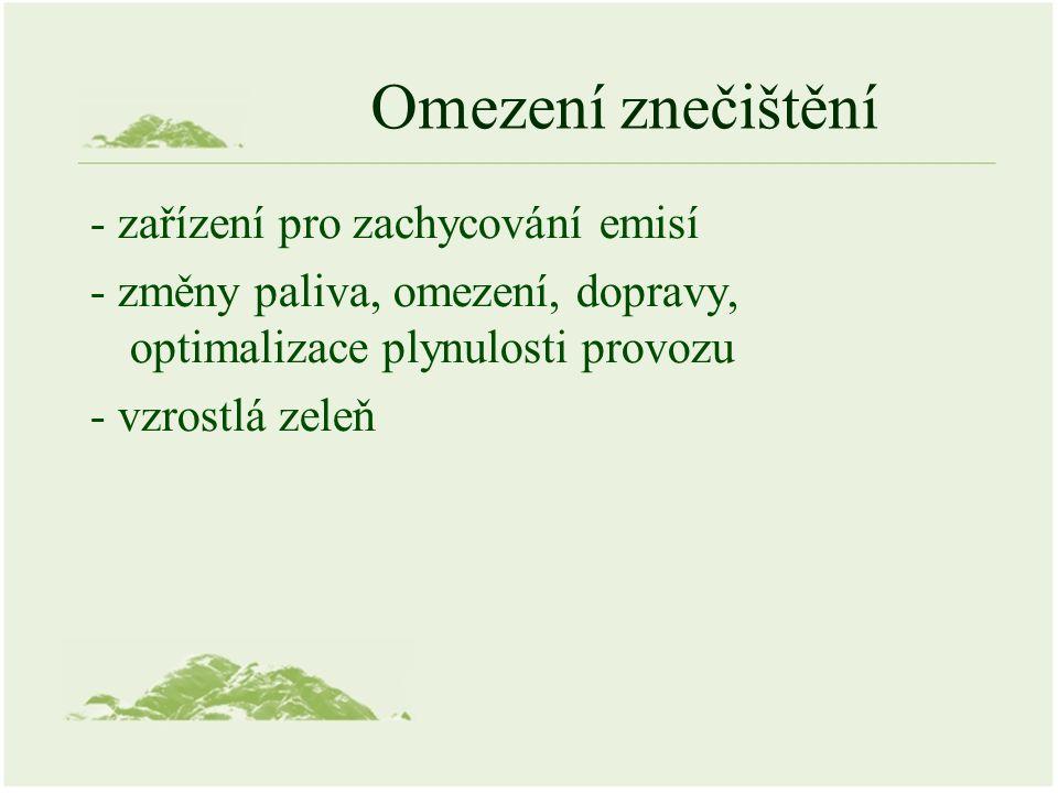 ISKO, IRZ (Informačního systému kvality ovzduší) provozovatel ČHMÚ databáze REZZO (Integrovaný registr znečišťování životního prostředí) provozovatel CENIA (spravuje MŽP)