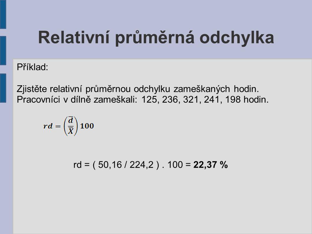 Relativní průměrná odchylka Příklad: Zjistěte relativní průměrnou odchylku zameškaných hodin.