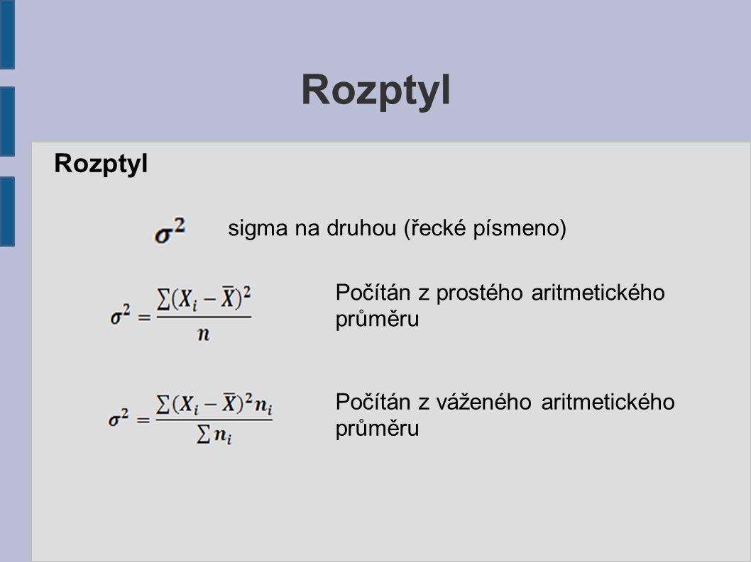 Rozptyl sigma na druhou (řecké písmeno) Počítán z prostého aritmetického průměru Počítán z váženého aritmetického průměru