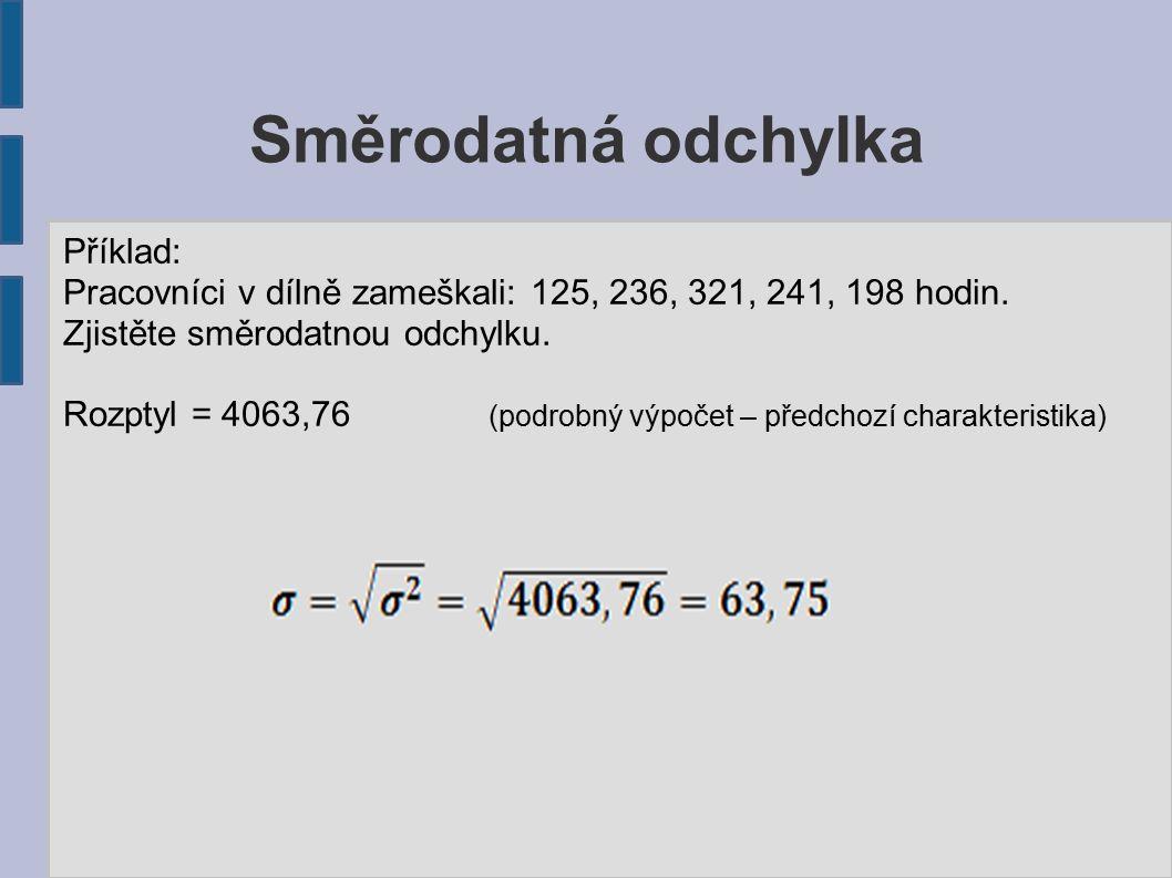 Směrodatná odchylka Příklad: Pracovníci v dílně zameškali: 125, 236, 321, 241, 198 hodin.