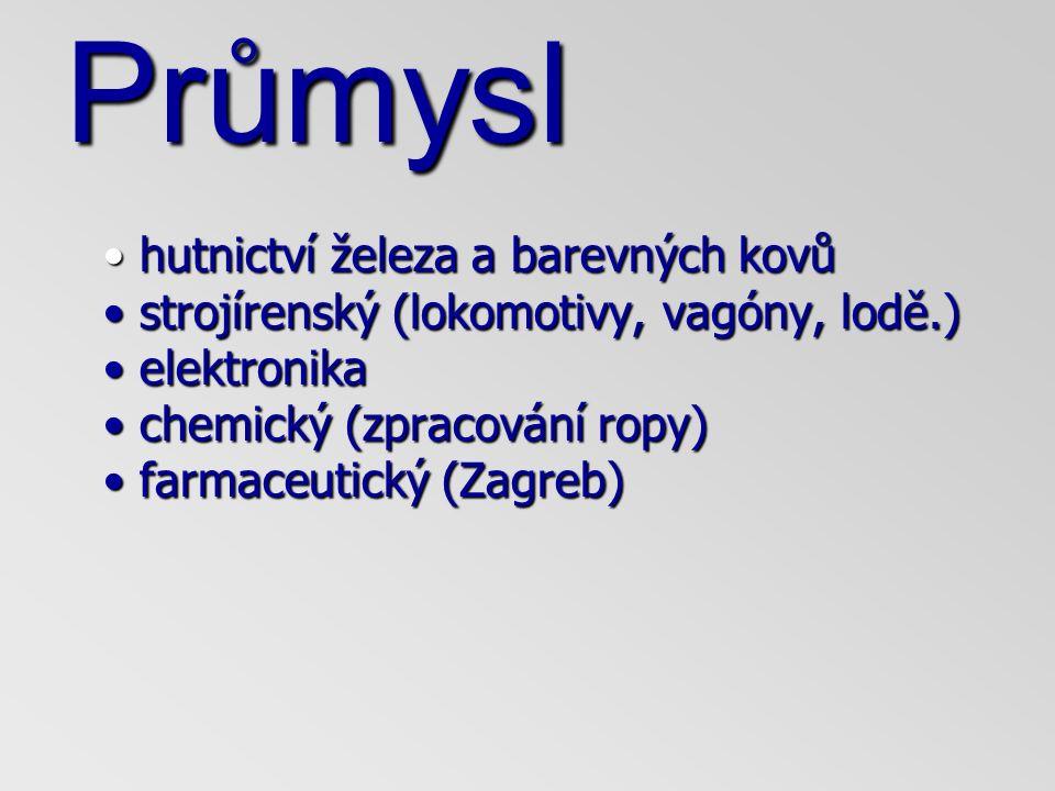 Průmysl hutnictví železa a barevných kovů strojírenský (lokomotivy, vagóny, lodě.) elektronika chemický (zpracování ropy) farmaceutický (Zagreb) hutnictví železa a barevných kovů strojírenský (lokomotivy, vagóny, lodě.) elektronika chemický (zpracování ropy) farmaceutický (Zagreb)