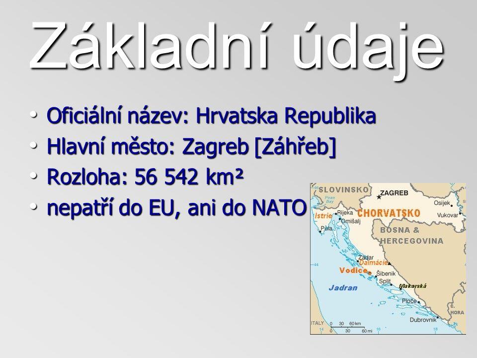 Základní údaje Oficiální název: Hrvatska Republika Oficiální název: Hrvatska Republika Hlavní město: Zagreb [Záhřeb] Hlavní město: Zagreb [Záhřeb] Rozloha: 56 542 km² Rozloha: 56 542 km² nepatří do EU, ani do NATO nepatří do EU, ani do NATO