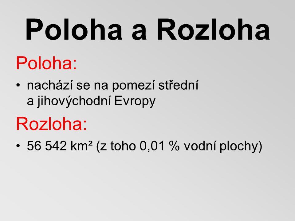 Poloha a Rozloha Poloha: nachází se na pomezí střední a jihovýchodní Evropy Rozloha: 56 542 km² (z toho 0,01 % vodní plochy)