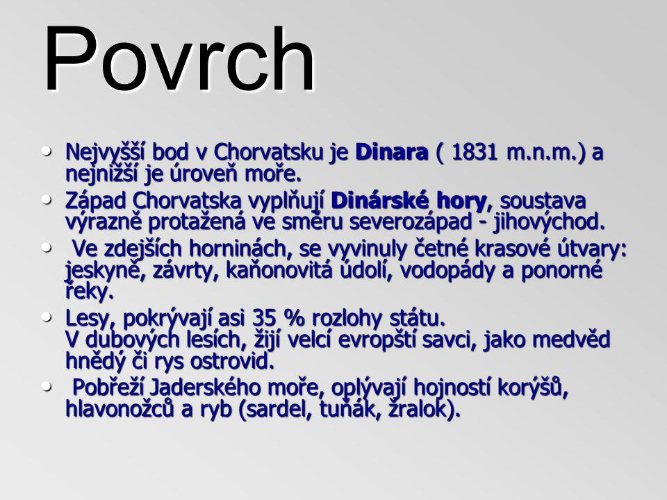 Povrch Nejvyšší bod v Chorvatsku je Dinara ( 1831 m.n.m.) a nejnižší je úroveň moře.