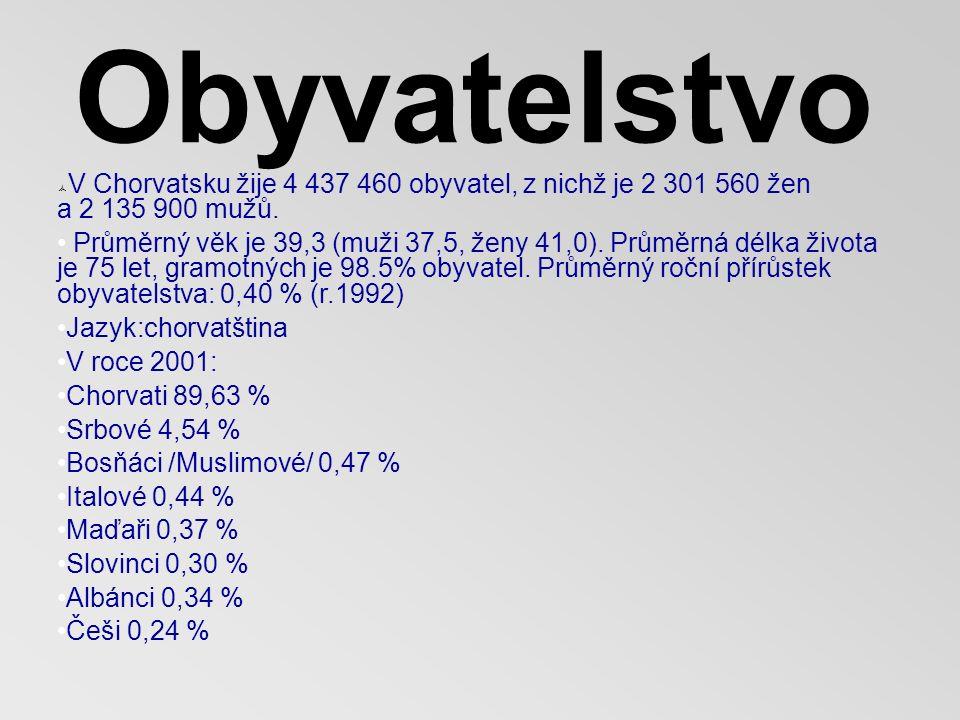 Obyvatelstvo  V Chorvatsku žije 4 437 460 obyvatel, z nichž je 2 301 560 žen a 2 135 900 mužů.