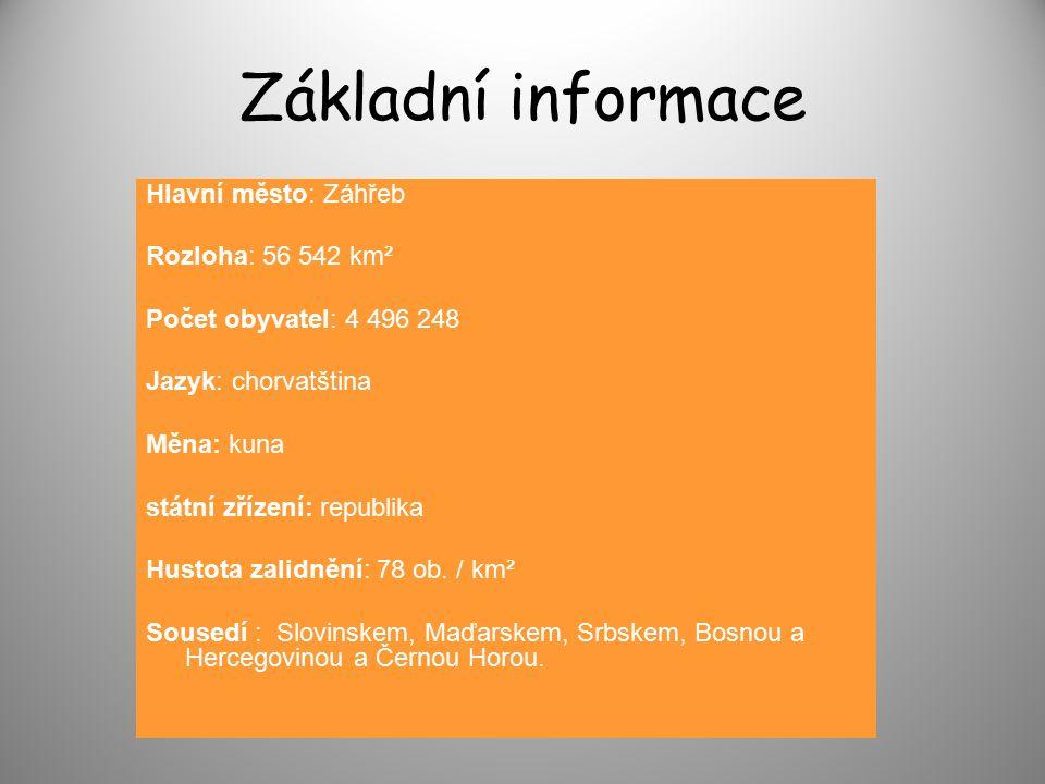 Základní informace Hlavní město: Záhřeb Rozloha: 56 542 km² Počet obyvatel: 4 496 248 Jazyk: chorvatština Měna: kuna státní zřízení: republika Hustota zalidnění: 78 ob.