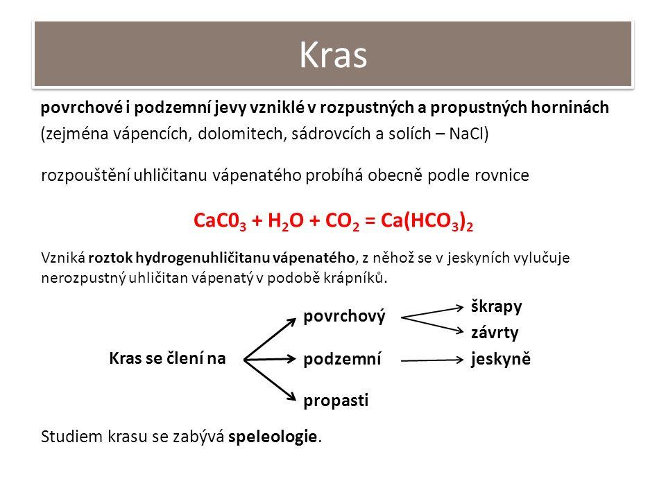 Kras povrchové i podzemní jevy vzniklé v rozpustných a propustných horninách (zejména vápencích, dolomitech, sádrovcích a solích – NaCl) Kras se člení