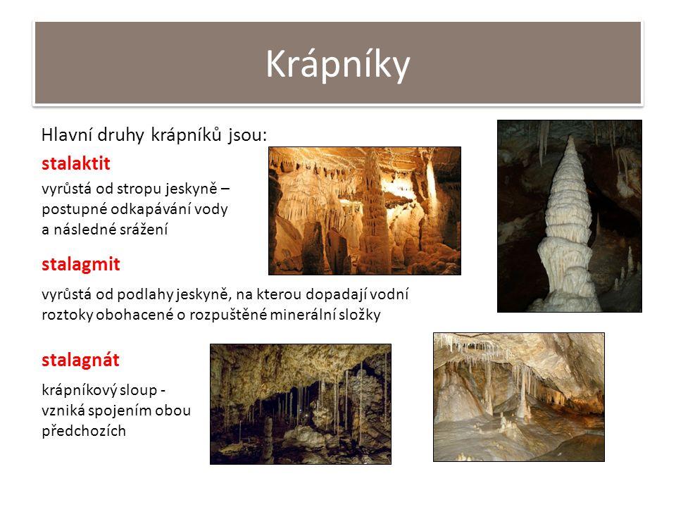 Krápníky Hlavní druhy krápníků jsou: stalaktit vyrůstá od stropu jeskyně – postupné odkapávání vody a následné srážení stalagmit vyrůstá od podlahy jeskyně, na kterou dopadají vodní roztoky obohacené o rozpuštěné minerální složky stalagnát krápníkový sloup - vzniká spojením obou předchozích
